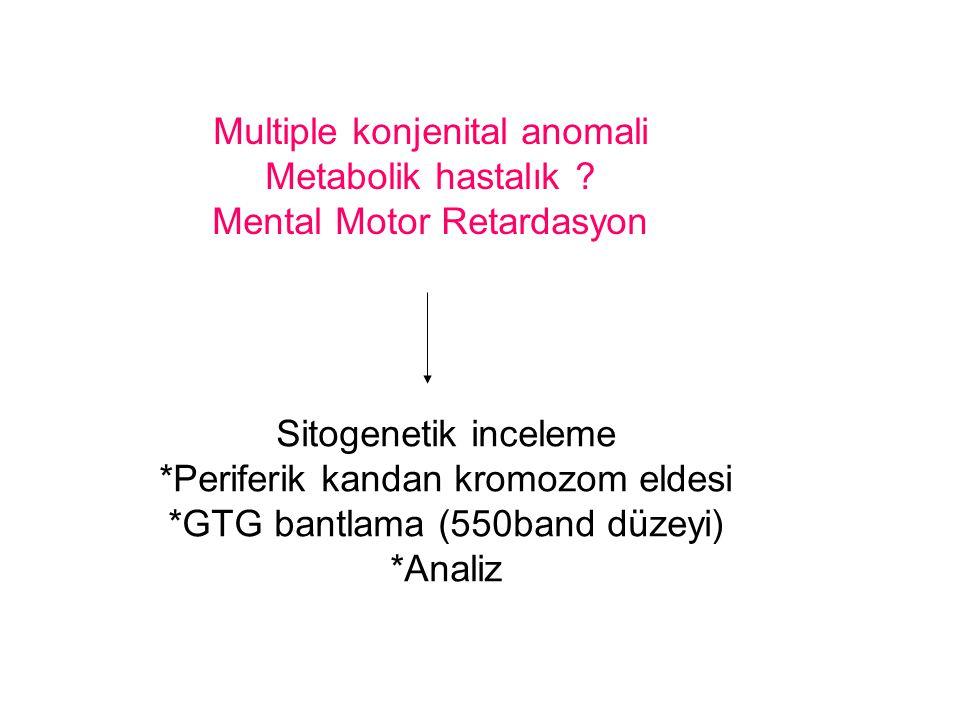 Multiple konjenital anomali Metabolik hastalık ? Mental Motor Retardasyon Sitogenetik inceleme *Periferik kandan kromozom eldesi *GTG bantlama (550ban
