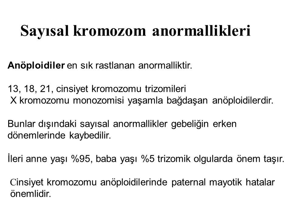 Anöploidiler en sık rastlanan anormalliktir. 13, 18, 21, cinsiyet kromozomu trizomileri X kromozomu monozomisi yaşamla bağdaşan anöploidilerdir. Bunla
