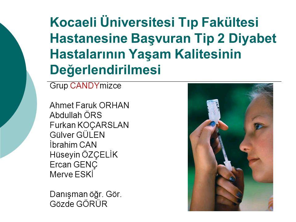 Kocaeli Üniversitesi Tıp Fakültesi Hastanesine Başvuran Tip 2 Diyabet Hastalarının Yaşam Kalitesinin Değerlendirilmesi Grup CANDYmizce Ahmet Faruk ORH