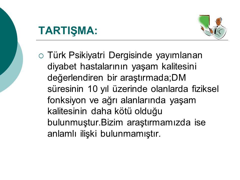 TARTIŞMA:  Türk Psikiyatri Dergisinde yayımlanan diyabet hastalarının yaşam kalitesini değerlendiren bir araştırmada;DM süresinin 10 yıl üzerinde ola