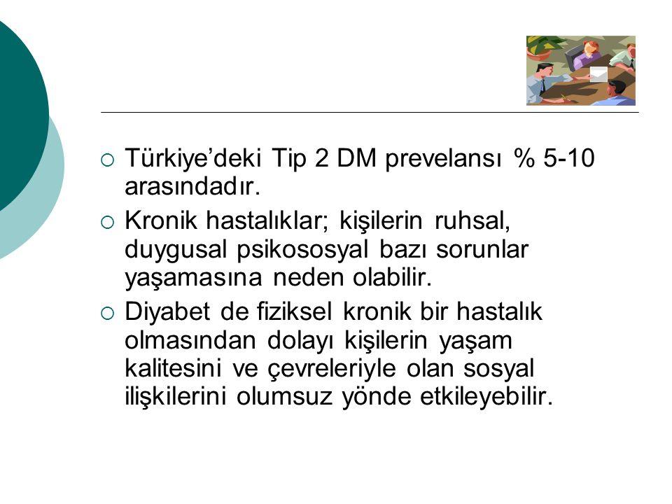  Türkiye'deki Tip 2 DM prevelansı % 5-10 arasındadır.  Kronik hastalıklar; kişilerin ruhsal, duygusal psikososyal bazı sorunlar yaşamasına neden ola