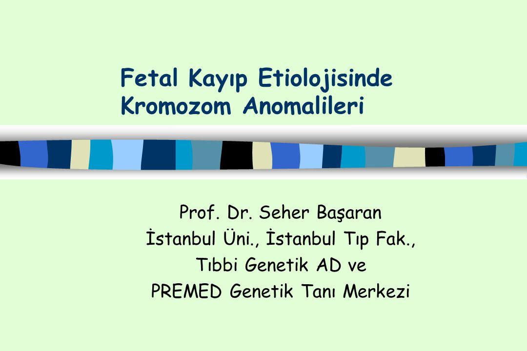 Doğal Gebeliklerin Abortus Materyallerinde Saptanan Kromozom Anomalileri Ağustos 2010 Nonmozaik n % Mozaik n % Poliploidi 3n 4n 88 72 16 3 Anöploidi 45,X X/Y trizomileri Otozomal trizomiler Double/triple trizomiler 360 56 3 282 19 15 4 10 1 Yapısal Kromozom Anomalileri Dengeli anomaliler Dengesiz anomaliler 44 6 38 5 1 4 Kompleks Anomaliler Anöploidi+ Polioploidi Anöploidi+Yapısal Anomali Poliploidi+Yapısal Anomali 14 7 6 1 Tüm Anomaliler 506 95.6 23 4.4