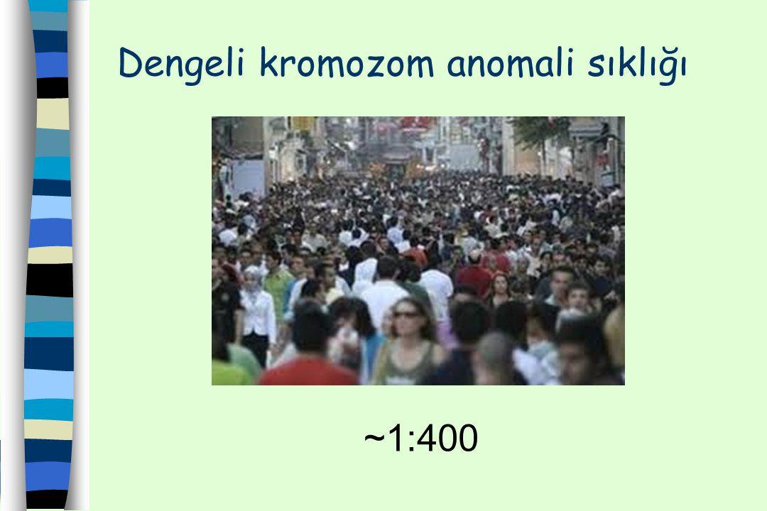 Dengeli kromozom anomali sıklığı ~1:400