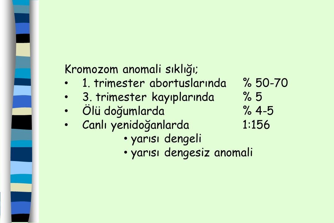 Kromozom Anomalileri Majör kromozom anomalisi; Anomaliyi taşıyanın kendisinde etki ya da gelecek kuşağında risk arttıran anomaliler; trizomiler, translokasyonlar, delesyonlar, vd.