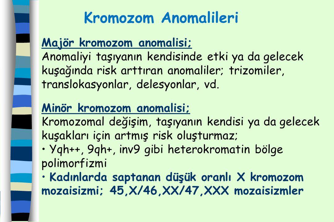 1.Dengesiz kromozom anomalisi 2. Dengeli kromozom anomalisi olarak sınıflandırılır.