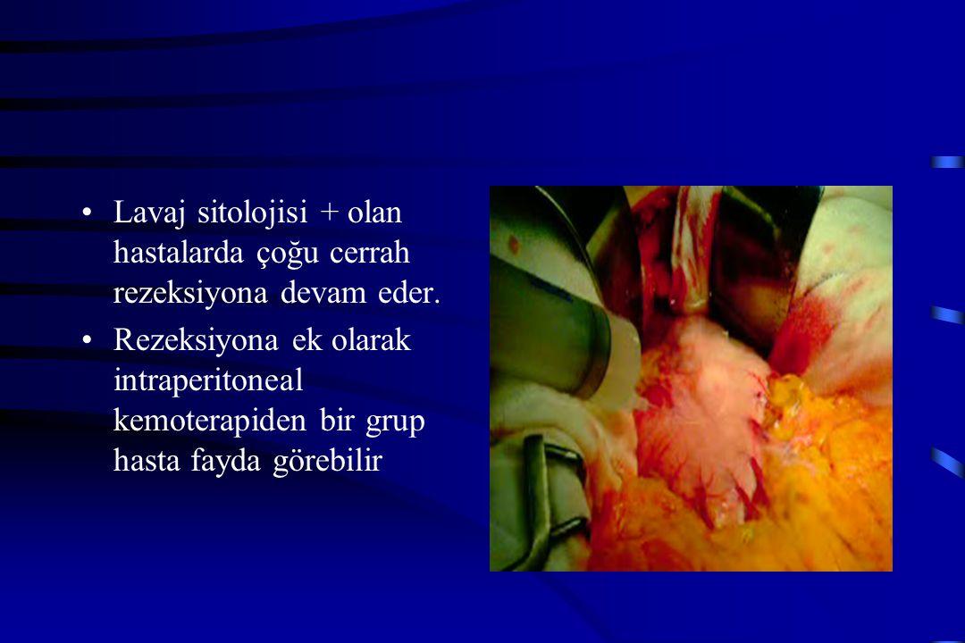 Lavaj sitolojisi + olan hastalarda çoğu cerrah rezeksiyona devam eder. Rezeksiyona ek olarak intraperitoneal kemoterapiden bir grup hasta fayda görebi