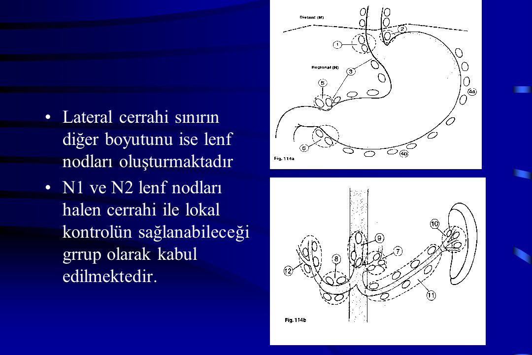 Lateral cerrahi sınırın diğer boyutunu ise lenf nodları oluşturmaktadır N1 ve N2 lenf nodları halen cerrahi ile lokal kontrolün sağlanabileceği grrup