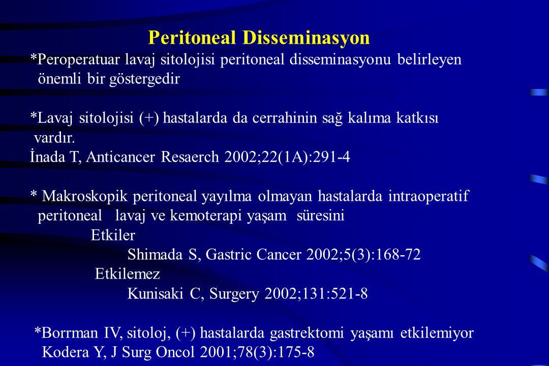 Peritoneal Disseminasyon *Peroperatuar lavaj sitolojisi peritoneal disseminasyonu belirleyen önemli bir göstergedir *Lavaj sitolojisi (+) hastalarda d