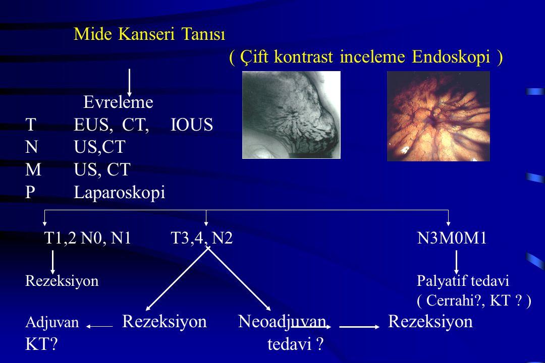 Mide Kanseri Tanısı ( Çift kontrast inceleme Endoskopi ) Evreleme TEUS, CT, IOUS NUS,CT MUS, CT P Laparoskopi T1,2 N0, N1T3,4, N2 N3M0M1 Rezeksiyon Pa