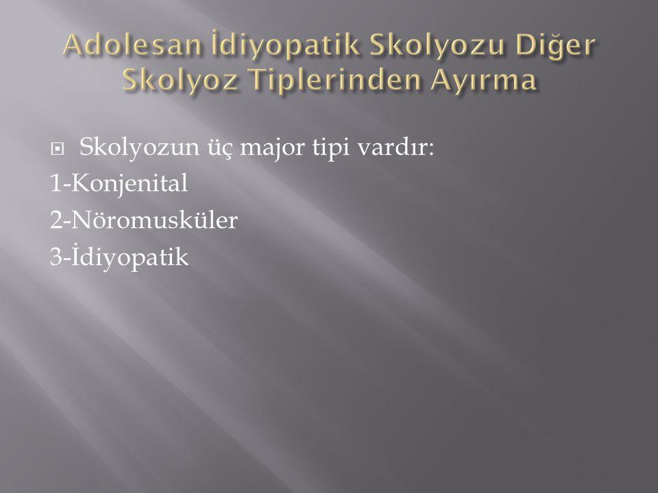  Skolyozun üç major tipi vardır: 1-Konjenital 2-Nöromusküler 3-İdiyopatik