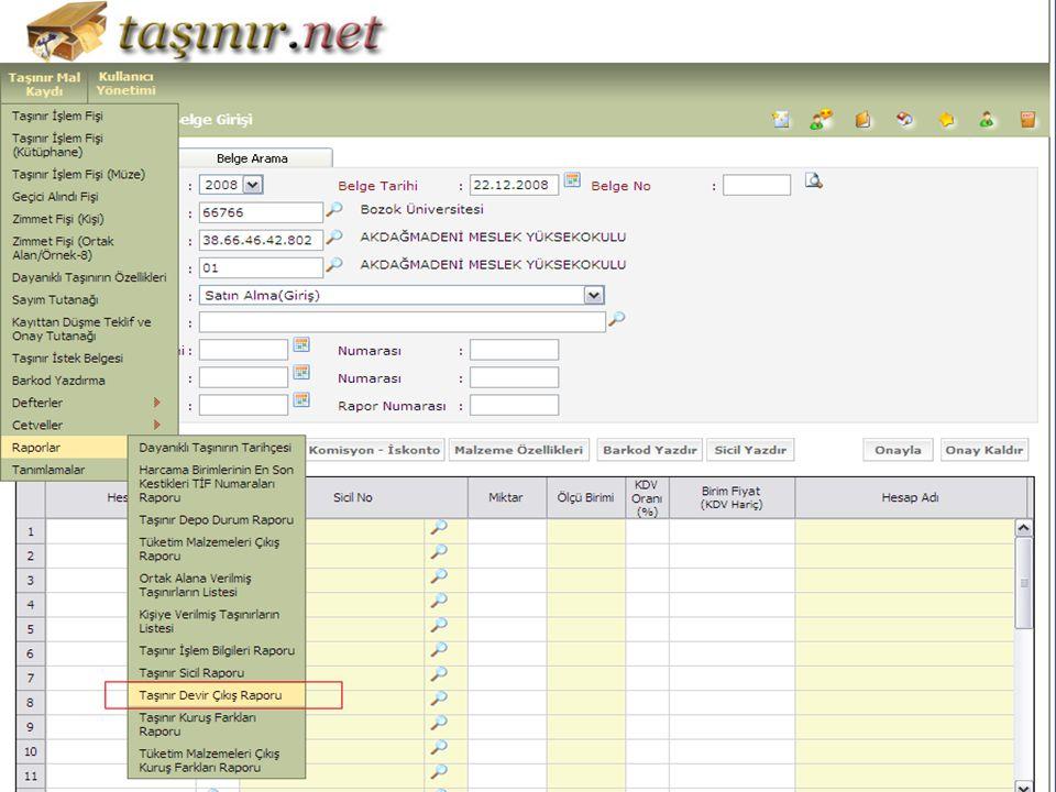 BU ŞEKİLDE ARATMAYI TAMAMLADIKTAN SONRA 1- Listelenen belgeleri tek tek açıp O koddan hangi malzeme alınmış tutarı ne bu bilgiler not alınır.