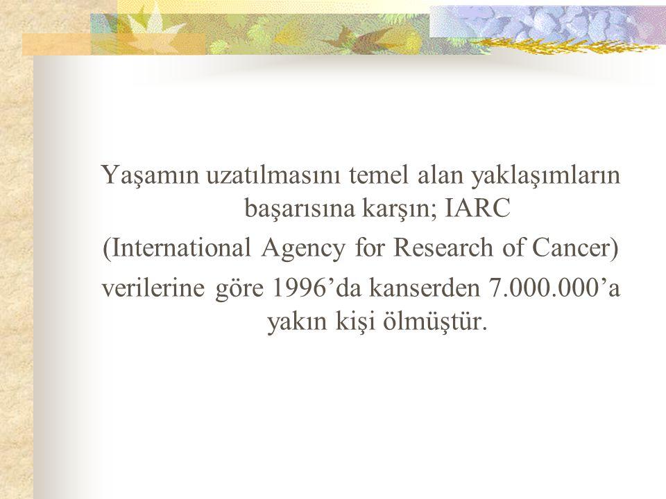 Yaşamın uzatılmasını temel alan yaklaşımların başarısına karşın; IARC (International Agency for Research of Cancer) verilerine göre 1996'da kanserden 7.000.000'a yakın kişi ölmüştür.