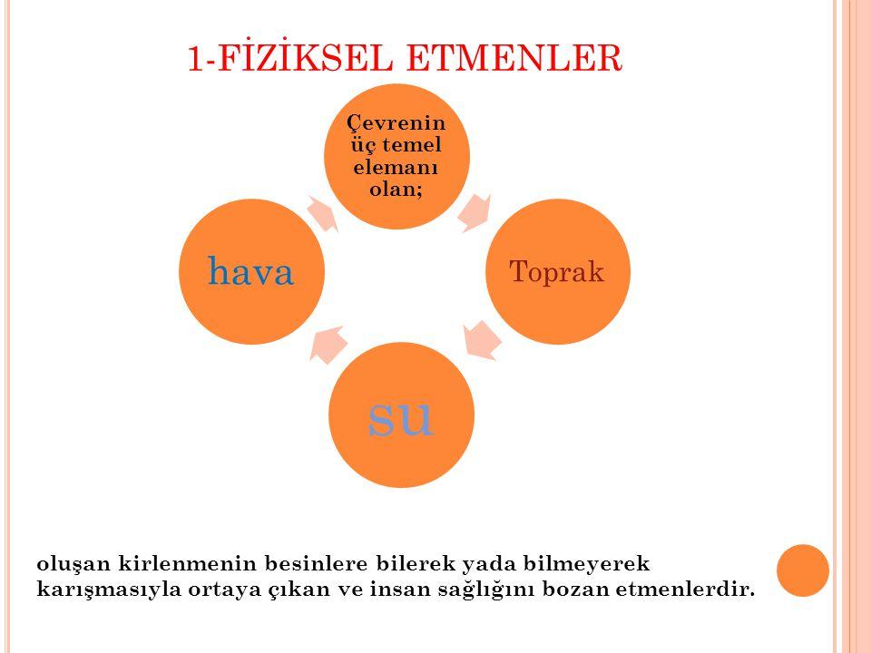 1-FİZİKSEL ETMENLER Çevrenin üç temel elemanı olan; Toprak su hava oluşan kirlenmenin besinlere bilerek yada bilmeyerek karışmasıyla ortaya çıkan ve i