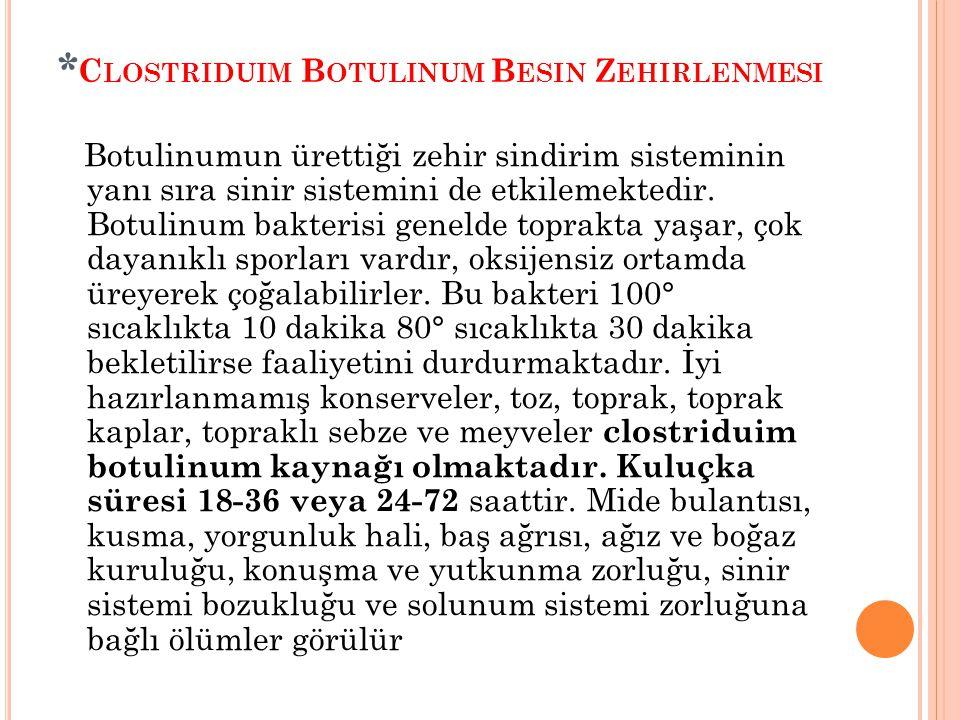 * C LOSTRIDUIM B OTULINUM B ESIN Z EHIRLENMESI Botulinumun ürettiği zehir sindirim sisteminin yanı sıra sinir sistemini de etkilemektedir. Botulinum b