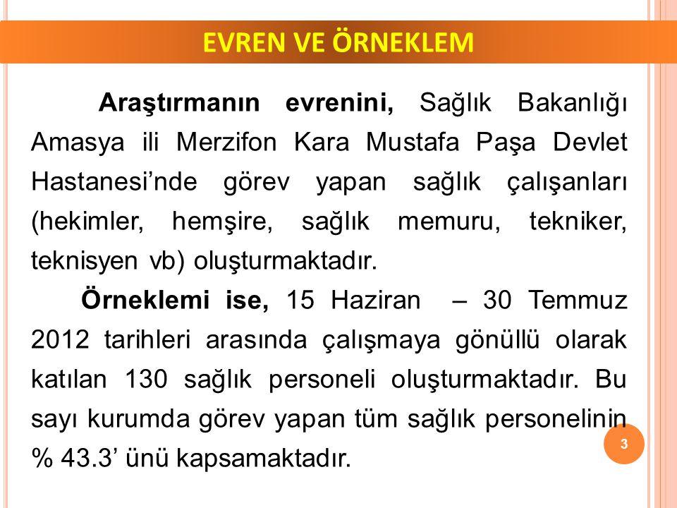 EVREN VE ÖRNEKLEM Araştırmanın evrenini, Sağlık Bakanlığı Amasya ili Merzifon Kara Mustafa Paşa Devlet Hastanesi'nde görev yapan sağlık çalışanları (hekimler, hemşire, sağlık memuru, tekniker, teknisyen vb) oluşturmaktadır.
