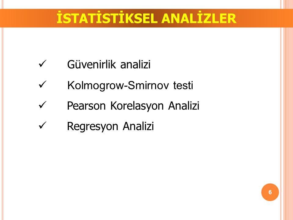 İSTATİSTİKSEL ANALİZLER Güvenirlik analizi Kolmogrow-Smirnov testi Pearson Korelasyon Analizi Regresyon Analizi 6