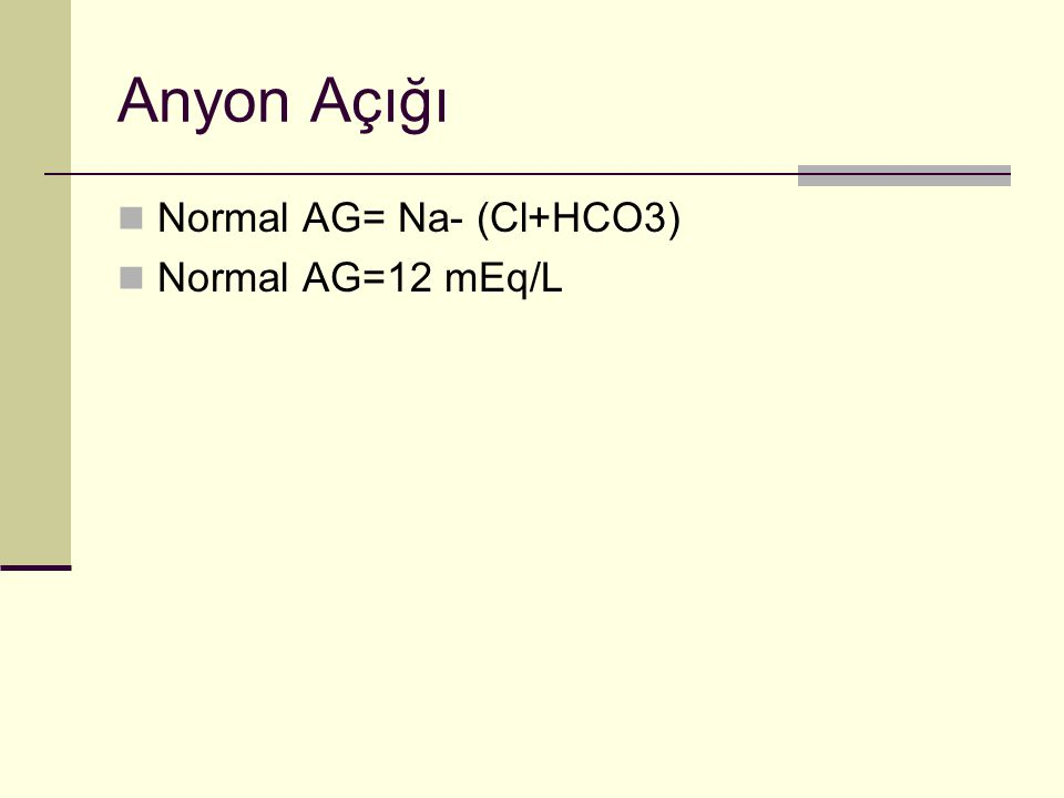 Anyon Açığı Normal AG= Na- (Cl+HCO3) Normal AG=12 mEq/L
