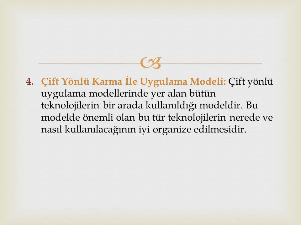  4. Çift Yönlü Karma İle Uygulama Modeli: Çift yönlü uygulama modellerinde yer alan bütün teknolojilerin bir arada kullanıldığı modeldir. Bu modelde
