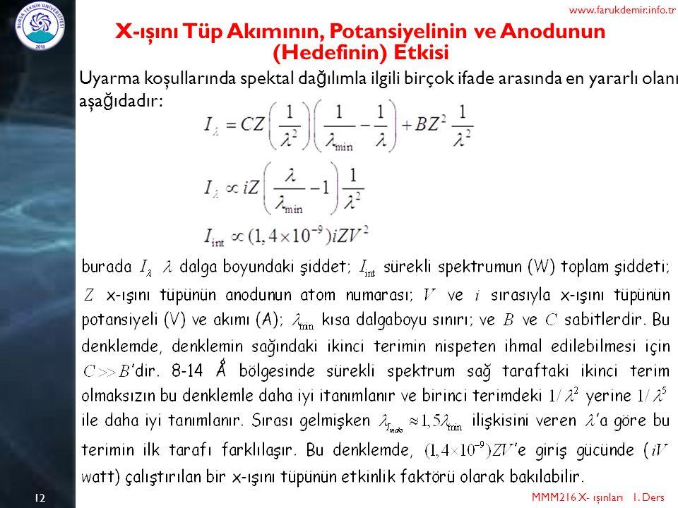 12 MMM216 X- ışınları 1. Ders www.farukdemir.info.tr X-ışını Tüp Akımının, Potansiyelinin ve Anodunun (Hedefinin) Etkisi Uyarma koşullarında spektal d