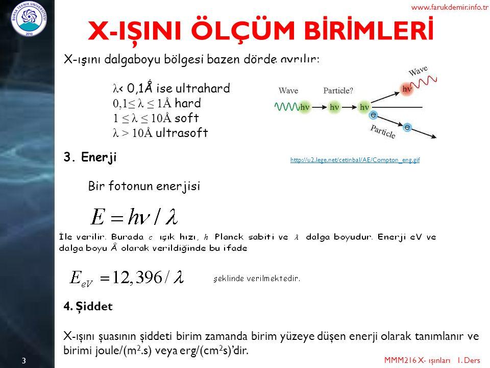 3 MMM216 X- ışınları 1. Ders www.farukdemir.info.tr X-IŞINI ÖLÇÜM B İ R İ MLER İ X-ışını dalgaboyu bölgesi bazen dörde ayrılır: λ < 0,1Ǻ ise ultrahard
