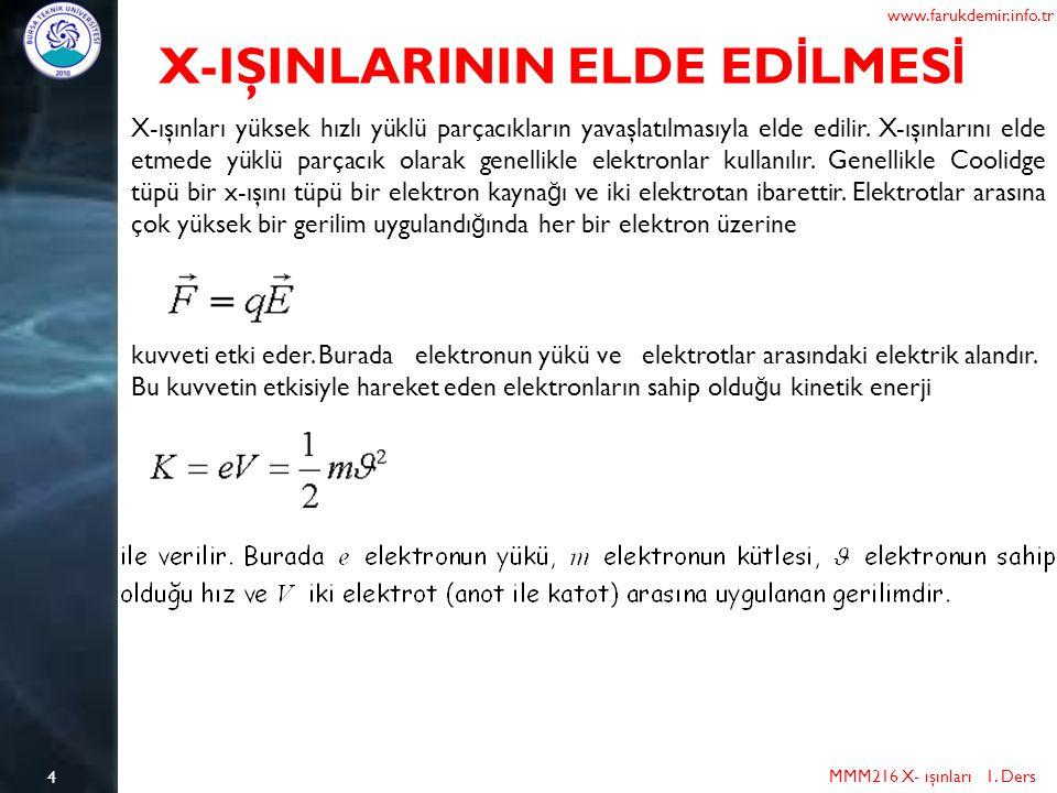 4 MMM216 X- ışınları 1. Ders www.farukdemir.info.tr X-IŞINLARININ ELDE ED İ LMES İ X-ışınları yüksek hızlı yüklü parçacıkların yavaşlatılmasıyla elde