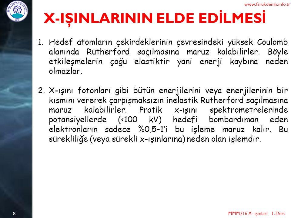 8 MMM216 X- ışınları 1. Ders www.farukdemir.info.tr X-IŞINLARININ ELDE ED İ LMES İ 1.Hedef atomların çekirdeklerinin çevresindeki yüksek Coulomb alanı