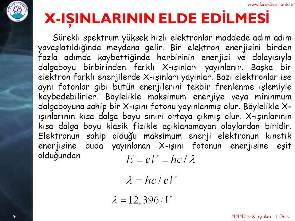 9 MMM216 X- ışınları 1. Ders www.farukdemir.info.tr X-IŞINLARININ ELDE ED İ LMES İ Sürekli spektrum yüksek hızlı elektronlar maddede adım adım yavaşla