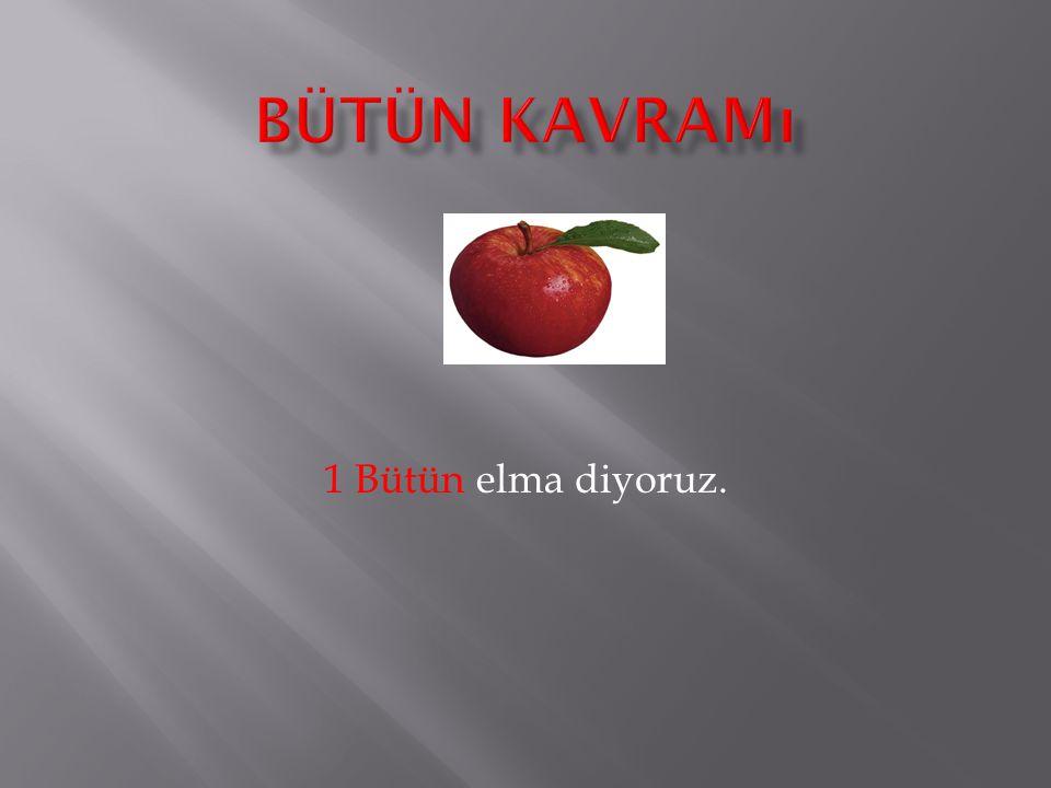 Bir ( 1 ) bütün elmayı, Bıçak ile tam ortasından eşit olarak ayırırsak 2 yarım elma elde etmiş oluruz.