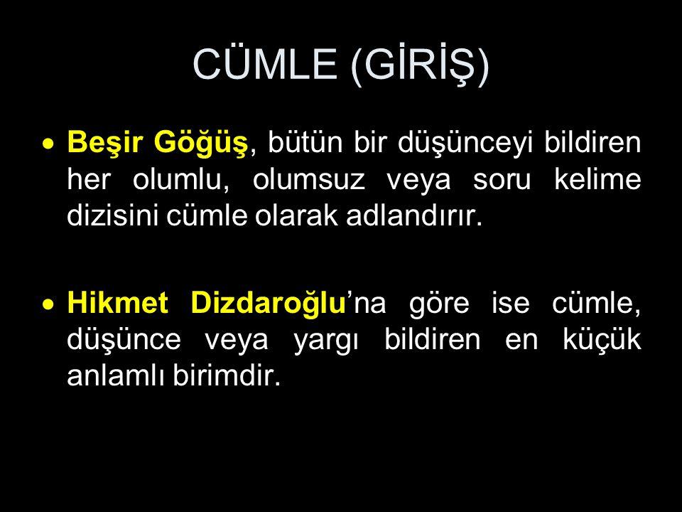 CÜMLE (GİRİŞ) Mustafa Özkan: Cümle, en dar anlamıyla bir yargı grubudur.