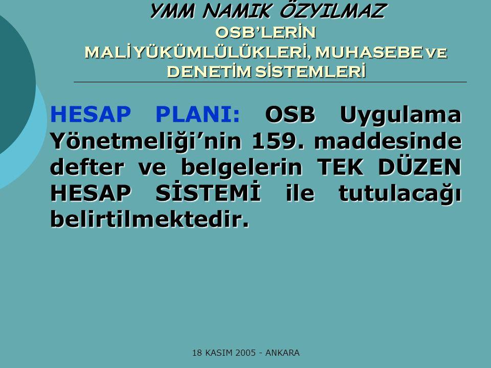 18 KASIM 2005 - ANKARA OSB Uygulama Yönetmeliği'nin 159. maddesinde defter ve belgelerin TEK DÜZEN HESAP SİSTEMİ ile tutulacağı belirtilmektedir. HESA
