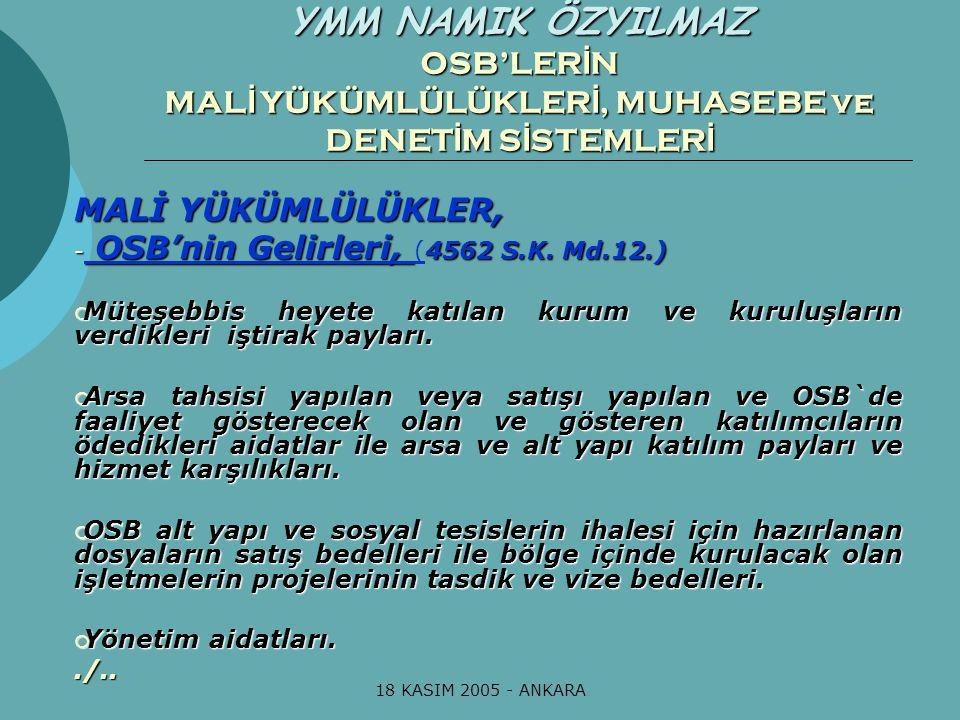 18 KASIM 2005 - ANKARA MALİ YÜKÜMLÜLÜKLER, - OSB'nin Gelirleri, 4562 S.K. Md.12.) - OSB'nin Gelirleri, (4562 S.K. Md.12.)  Müteşebbis heyete katılan