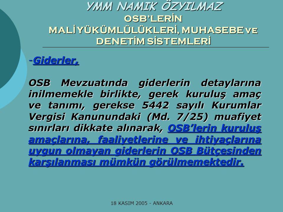 18 KASIM 2005 - ANKARA ÖZYILMAZ YEMİNLİ MALİ MÜŞAVİRLİK BÜROSU YMM NAMIK ÖZYILMAZ