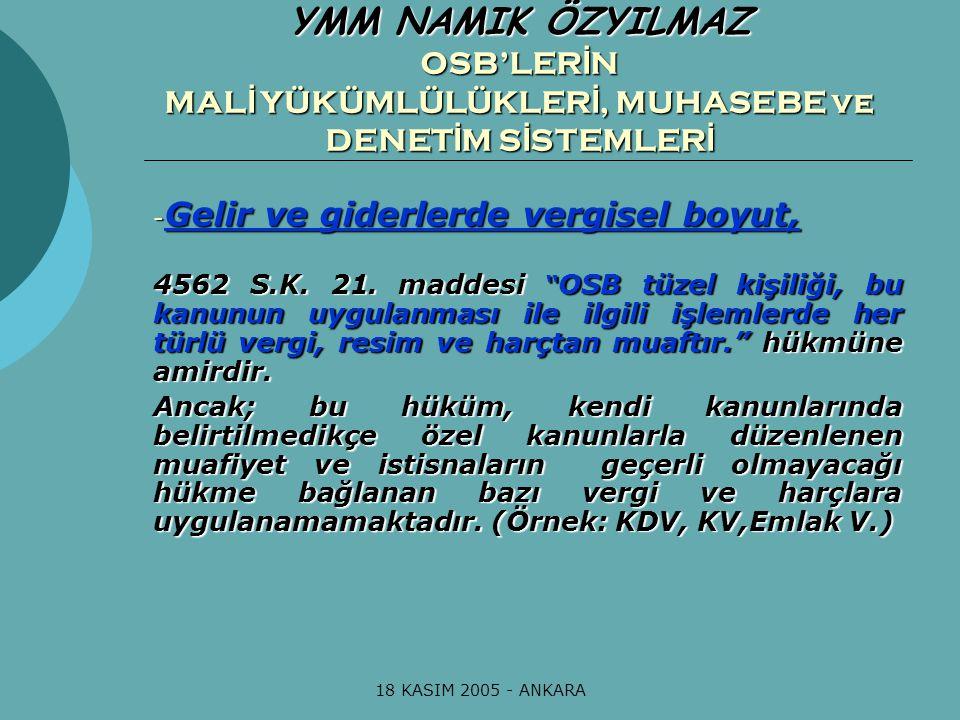 18 KASIM 2005 - ANKARA OSB'lerin hesap dönemi ile ilgili özel bir düzenleme bulunmamaktadır.