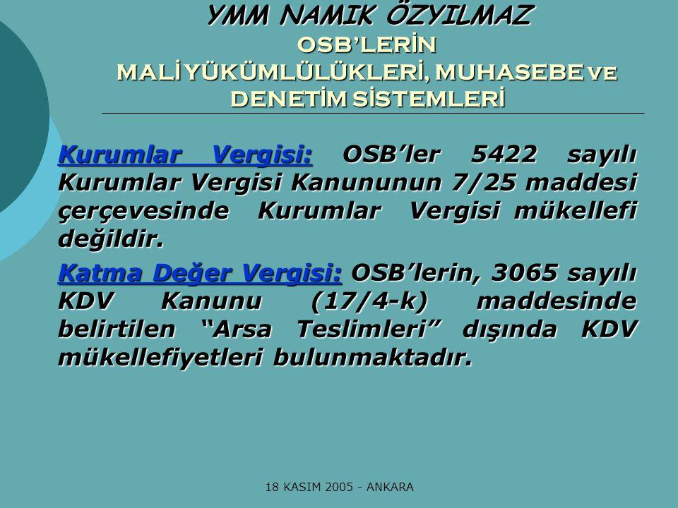 18 KASIM 2005 - ANKARA OSB Uygulama Yönetmeliği'nin 159.