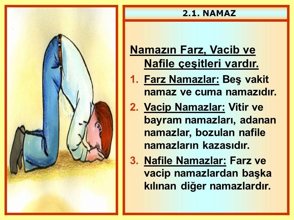 2.1. NAMAZ Namazın Farz, Vacib ve Nafile çeşitleri vardır. 1.Farz Namazlar: Beş vakit namaz ve cuma namazıdır. 2.Vacip Namazlar: Vitir ve bayram namaz