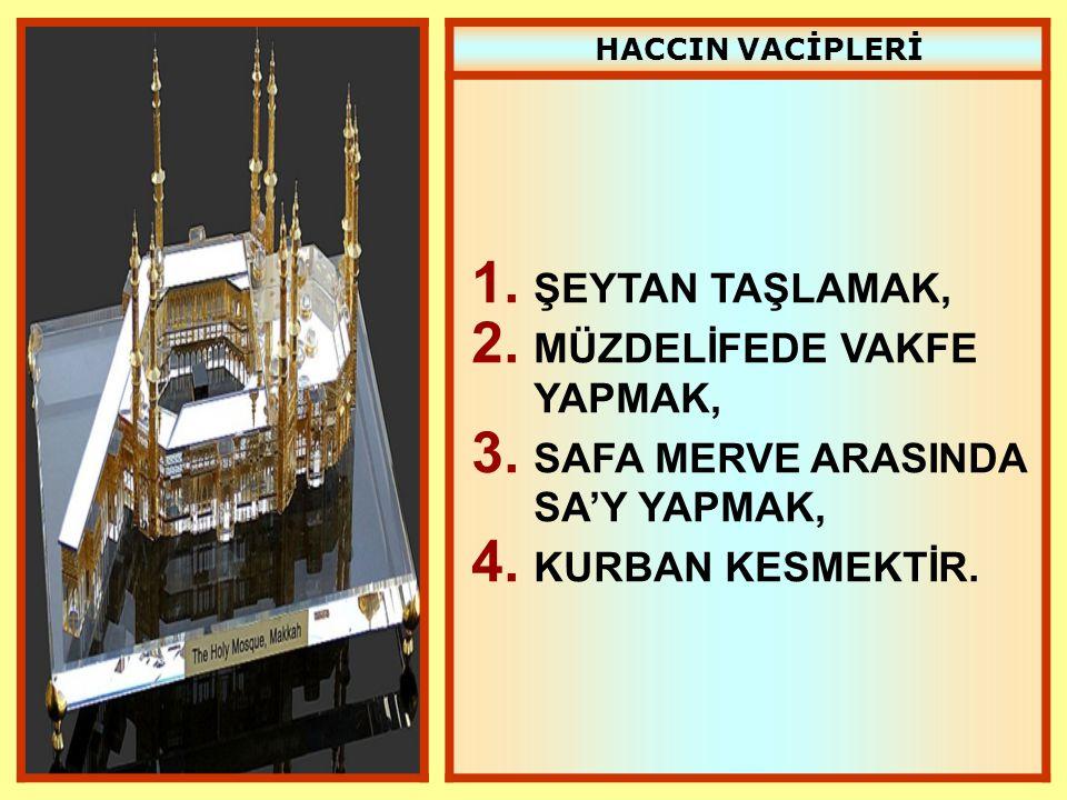 HACCIN VACİPLERİ 1. ŞEYTAN TAŞLAMAK, 2. MÜZDELİFEDE VAKFE YAPMAK, 3. SAFA MERVE ARASINDA SA'Y YAPMAK, 4. KURBAN KESMEKTİR.