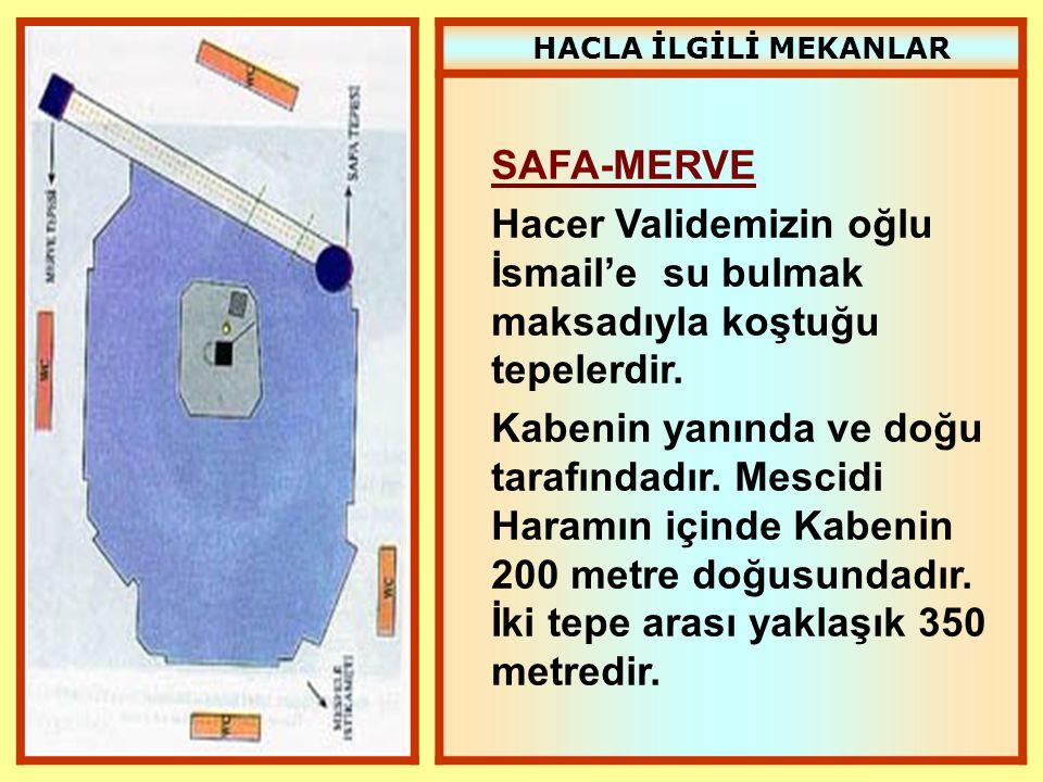 HACLA İLGİLİ MEKANLAR SAFA-MERVE Hacer Validemizin oğlu İsmail'e su bulmak maksadıyla koştuğu tepelerdir. Kabenin yanında ve doğu tarafındadır. Mescid