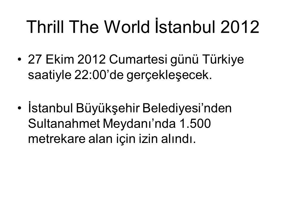 Thrill The World İstanbul 2012 27 Ekim 2012 Cumartesi günü Türkiye saatiyle 22:00'de gerçekleşecek. İstanbul Büyükşehir Belediyesi'nden Sultanahmet Me