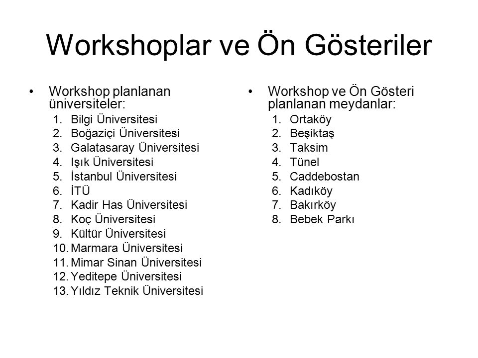 Workshoplar ve Ön Gösteriler Workshop planlanan üniversiteler: 1.Bilgi Üniversitesi 2.Boğaziçi Üniversitesi 3.Galatasaray Üniversitesi 4.Işık Üniversi