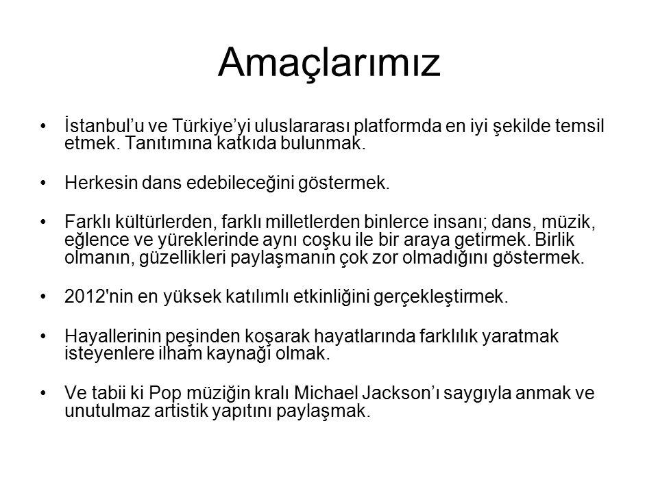 Amaçlarımız İstanbul'u ve Türkiye'yi uluslararası platformda en iyi şekilde temsil etmek. Tanıtımına katkıda bulunmak. Herkesin dans edebileceğini gös