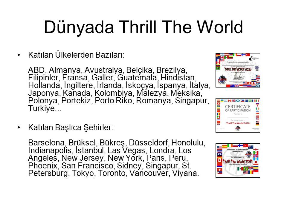 Dünyada Thrill The World Katılan Ülkelerden Bazıları: ABD, Almanya, Avustralya, Belçika, Brezilya, Filipinler, Fransa, Galler, Guatemala, Hindistan, H