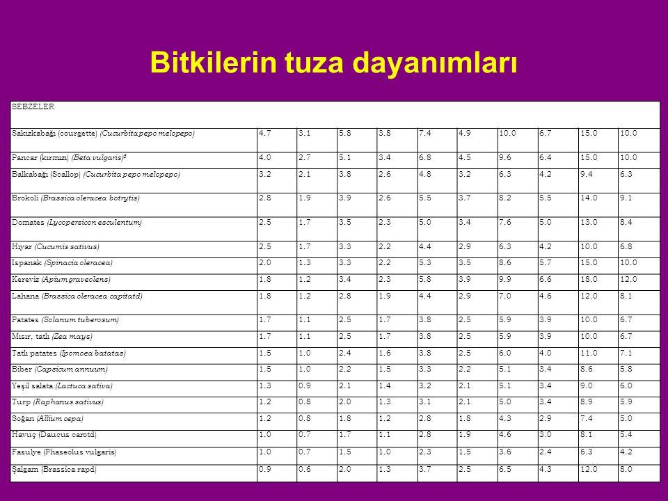 Bitkilerin tuza dayanımları SEBZELER Sakızkabağı (courgette) (Cucurbita pepo melopepo) 4.73.15.83.87.44.910.06.715.010.0 Pancar (kırmızı) (Beta vulgar