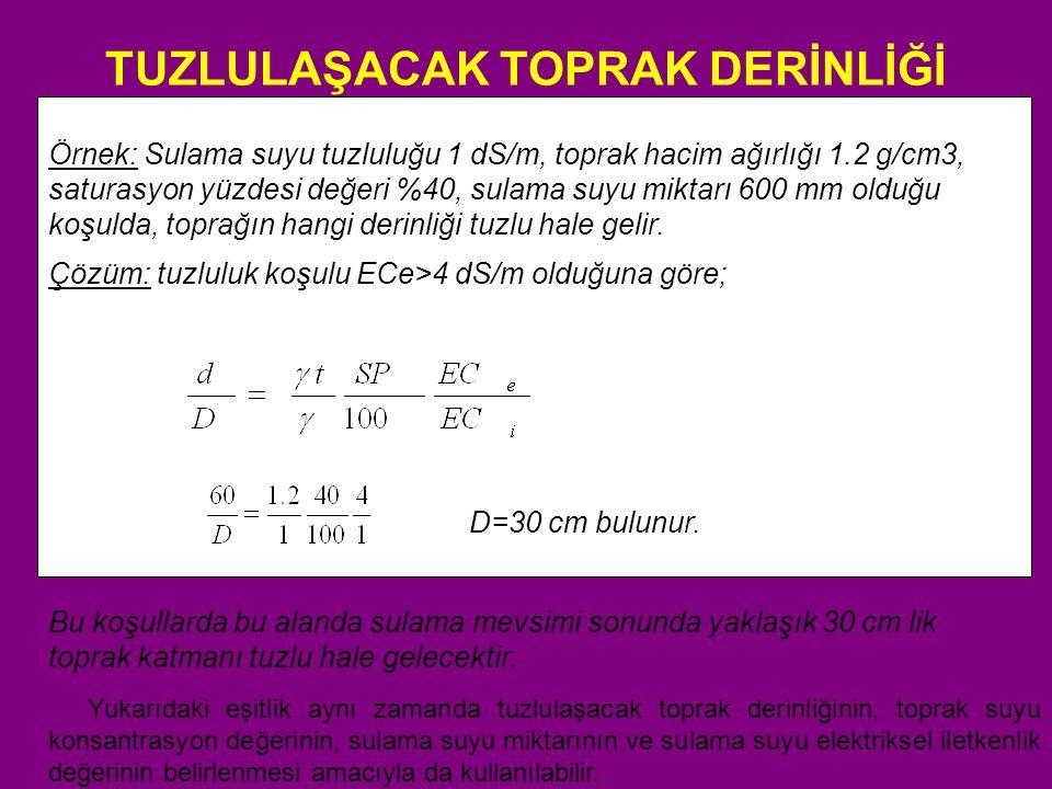 Bitkilerin tuza dayanımları TARLA BİTKİLERİ VERİM POTANSİYELLERİ 2 %100 %90%75%50%0 EC e EC i EC e EC i EC e EC i EC e EC i EC e EC i Arpa (Hordeum vulgare) 4 8.05.3 10.0 6.7 13.0 8.7 18.012.0 28.019.0 Pamuk (Gossypium hirsutum) 7.75.19.66.4 13.0 8.4 17.012.0 27.018.0 Şeker Pancarı (Beta vulgaris) 5 7.04.78.75.8 11.0 7.5 15.010.0 24.016.0 Sorgum (Sorghum bicolor) 6.84.57.45.08.45.69.96.713.08.7 Buğday, Ekmeklik (Triticum aestivum) 4,6 6.04.07.44.99.56.3 13.0 8.720.013.0 Buğday, Makarnalık (Triticum turgidum) 5.73.87.6 5.010.0 6.9 15.010.0 24.016.0 Soya (Glycine max) 5.03.35.53.76.34.27.55.010.06.7 Börülce (Vigna unguiculata) 4.93.35.73.87.04.79.16.013.08.8 Yerfıstığı (Arachis hypogaea) 3.22.13.52.44.12.74.93.36.64.4 Çeltik (Oriza sativa) 3.02.03.82.65.13.47.24.811.07.6 Şeker kamışı (Saccharum officinarum) 1.71.13.42.35.94.0 10.0 6.819.012.0 Mısır (maize) (Zea mays) 1.71.12.51.73.82.55.93.910.06.7 Keten (Linum usitatissimum) 1.71.12.51.73.82.55.93.910.06.7 Bakla (Vicia f aba) 1.51.12.61.84.22.06.84.512.08.0 Fasulye (Phaseolus vulgaris) 1.00.71.51.02.31.53.62.46.34.2