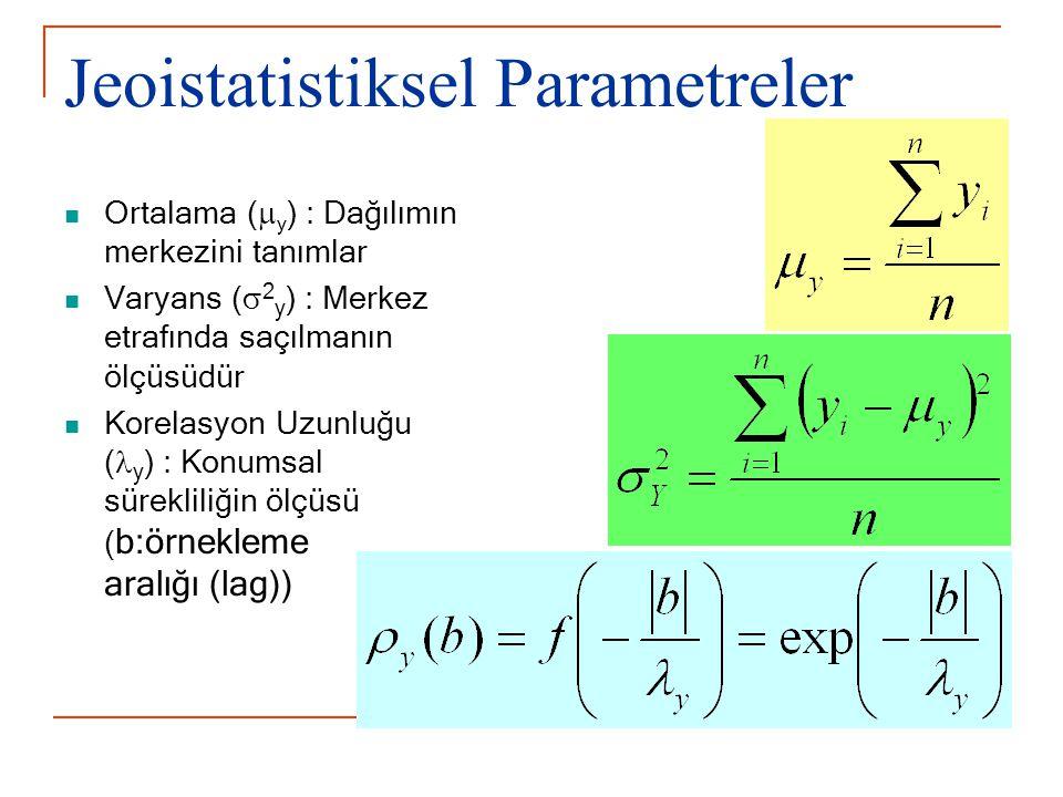 Jeoistatistiksel Parametreler Ortalama (  y ) : Dağılımın merkezini tanımlar Varyans (  2 y ) : Merkez etrafında saçılmanın ölçüsüdür Korelasyon Uzunluğu ( y ) : Konumsal sürekliliğin ölçüsü ( b:örnekleme aralığı (lag))