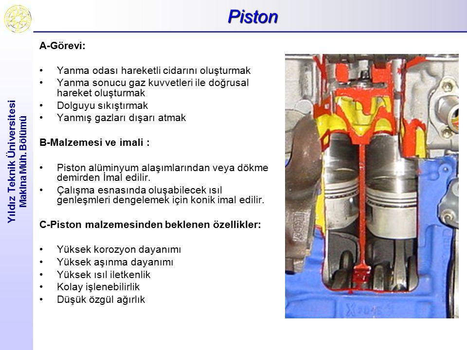 Piston Yıldız Teknik Üniversitesi Makina Müh. Bölümü A-Görevi: Yanma odası hareketli cidarını oluşturmak Yanma sonucu gaz kuvvetleri ile doğrusal hare
