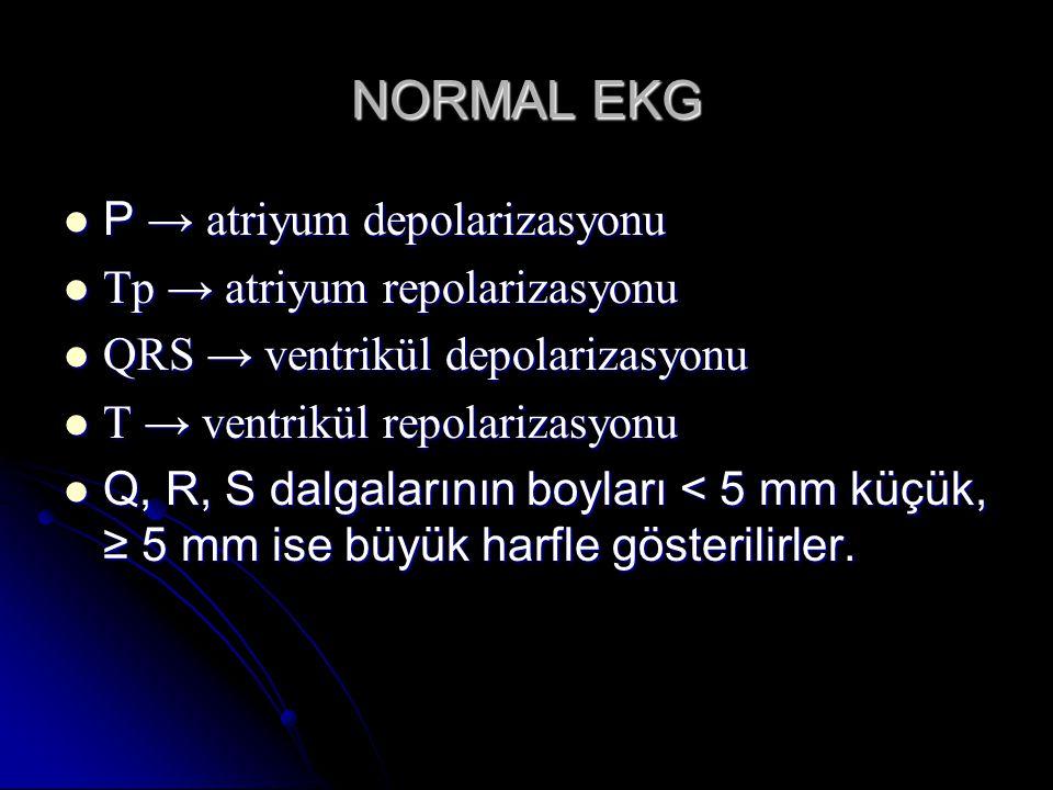 NORMAL EKG P → atriyum depolarizasyonu P → atriyum depolarizasyonu Tp → atriyum repolarizasyonu Tp → atriyum repolarizasyonu QRS → ventrikül depolariz