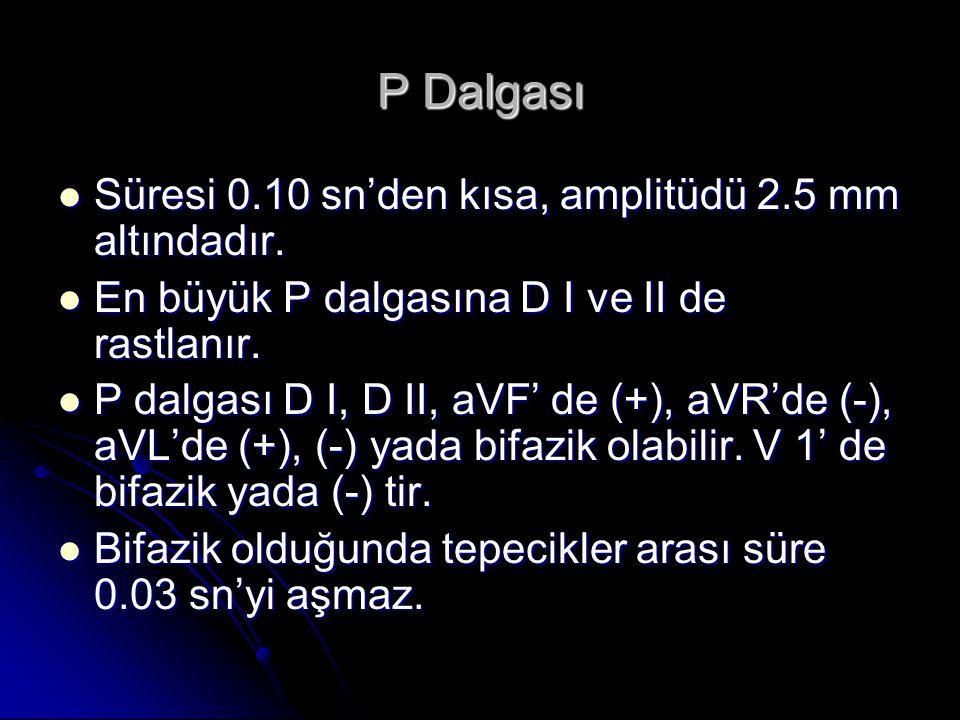 P Dalgası Süresi 0.10 sn'den kısa, amplitüdü 2.5 mm altındadır. Süresi 0.10 sn'den kısa, amplitüdü 2.5 mm altındadır. En büyük P dalgasına D I ve II d