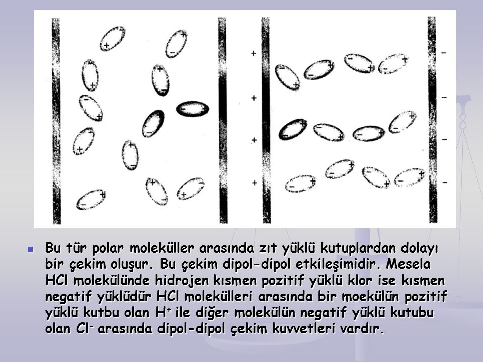 Bu tür polar moleküller arasında zıt yüklü kutuplardan dolayı bir çekim oluşur. Bu çekim dipol-dipol etkileşimidir. Mesela HCl molekülünde hidrojen kı