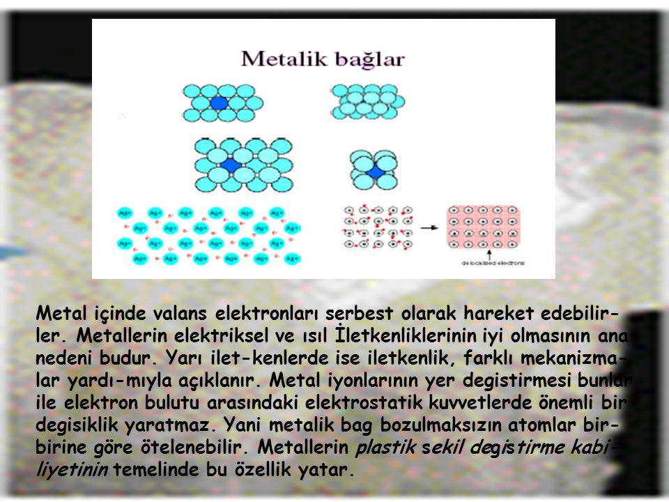 Metal içinde valans elektronları serbest olarak hareket edebilir- ler. Metallerin elektriksel ve ısıl İletkenliklerinin iyi olmasının ana nedeni budur