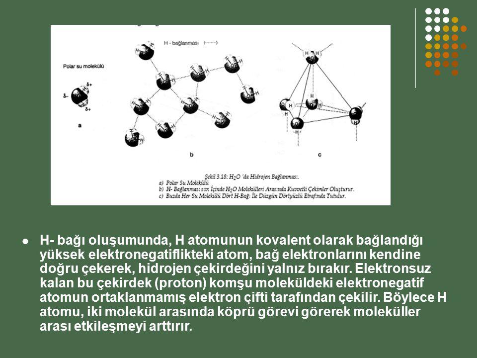 H- bağı oluşumunda, H atomunun kovalent olarak bağlandığı yüksek elektronegatiflikteki atom, bağ elektronlarını kendine doğru çekerek, hidrojen çekird